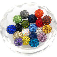 100pcs & 10pcs Quality Crystal Rhinestone Pave Clay Round Disco Ball Beads 10mm