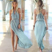 Sexy Womens Summer Chiffon Lace Boho Blue Long Evening Party Beach Dress Fashion