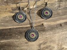 Egyptian-Look / Bullet Necklace & Earrings, NICKEL 38's, Choice of Crystal S602
