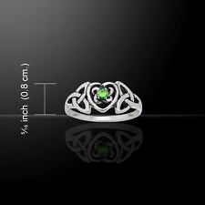 Celtic Heart Birthstone .925 Sterling Silver Ring by Peter Stone