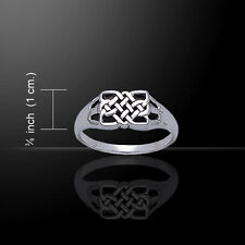 Celtic Knotwork Rectangle .925 Sterling Silver Ring by Peter Stone