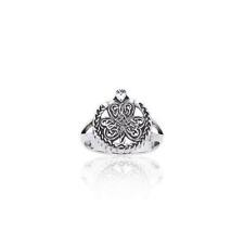 Celtic Knotwork Shamrock Claddagh .925 Sterling Silver Ring by Peter Stone