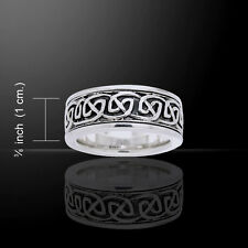 Celtic Knotwork .925 Sterling Silver Spinner Ring by Peter Stone