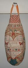 Love One Another Prim Sampler Plastic Grocery Bag Rag Sock Organizer HCF&D