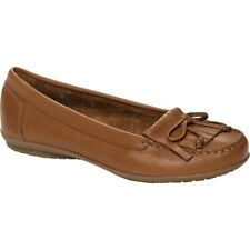 Hush Puppies CEIL MOCC Ladies Womens Leather Flat Tassel Loafers Shoes Tan Brown