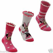 Disney Minnie Mouse Crew Socks Childs Girls 3 Pack Kids Pink White Multi