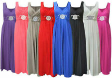 New Ladies Womens Long Evening Maxi Dress Buckle Party Dress Plus Size 16-26