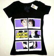 Justin Bieber Polaroid Puzzle Girls Junior T-Shirt Black NWT Licensed & Official