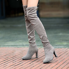 Fashion Women Suede Pull On Block Heel Sweet Ladies Over Knee Thigh Riding Boots