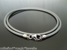 "2mm Grey Rubber & Sterling Silver Necklace ~ Lobster Clasp 16"" 18"" 20"" 22"" 24"""
