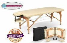 Cream Portable Massage Table SPA Body Work Therapy Bed Free Accessories