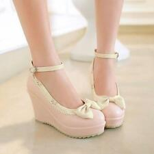 Womens Platform Wedge Bowtie Ankle Strap Buckle Mary Jane shoes Slip on Vogue Sz