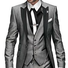 New Gray Men Suits Groomsmen Tuxedos Groom Suit Jacket Tie Pants Vest Hot Sale