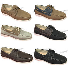 Mens Boat Shoes Moccasins Lace-up Faux Leather Moc Toe Deck Casual Driving Sizes
