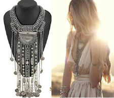 New Style Vintage Bohemia Rope Tassel Statement Pendant Bib Chunky Necklace HOT