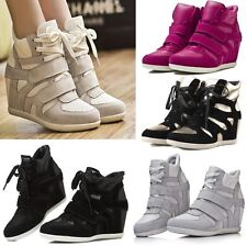 Womens Hi Top Fashion Leather Sneakers High Heel Wedge Tennis Shoes Ankle Boots