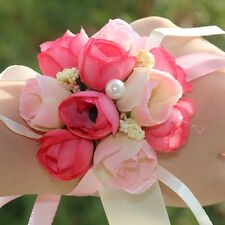 New Bridal Wrist Corsage Rose Party Artificial Buds Silk Flower Wedding Bracelet