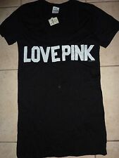 "VICTORIAS SECRET PINK APPLIQUE ""LOVE PINK"" VNECK TEE NWT"