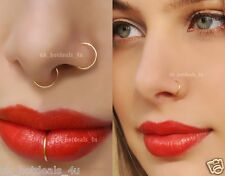 Thin Surgical Steel Nose Ring Hoop Lip Ear Lob Eyebrow Cartilage Tragus Piercing