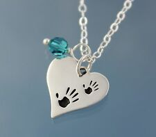 Baby Love Handprints Heart & Birthstone Sterling Silver Necklace- family, mother