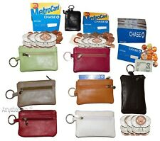 New Leather change purse, Zip coin wallet, 2 pocket purse w/key ring, unbranded
