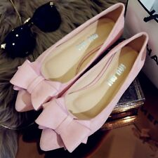 Women's Fashion Suede Bowknot Ballet Flats Shoes Pointy Toe Casual Wedding Shoes
