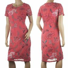 Ex Chainstore Chiffon Dress Shift Pink Coral Floral Embroidered Size 10 12 NEW