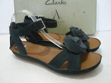 NEW CLARKS PURELY CRYSTAL COMFY LEATHER LOW WEDGE SANDALS VARIOUS SIZES