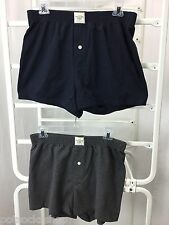 ABERCROMBIE & FITCH Boxer Shorts Knit Cotton Stretch Button Fly Gray Navy NWT
