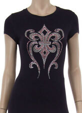 Fleur de Lis Pink Stud & Rhinestone Iron on Short Slv Shirt