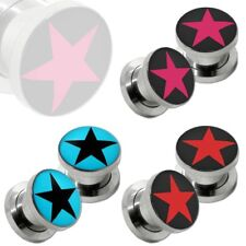 1 Pair or 2 Sets Flesh Tunnel Ear Plug Piercing Steel 2-10 mm 12-000 Gauge Star