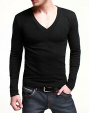 Fitted Mens Basic Tee Long Sleeve T-Shirt GYM Sports Tee Deep V Neck 5 Color