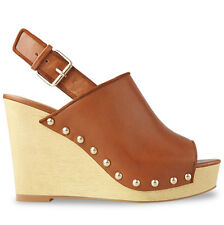 Wittner Ladies Shoes Tan Leather Wedges