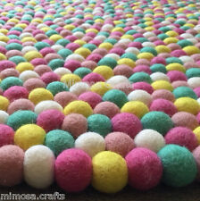 New Mimosa Design Felt Ball Rug -  5 Color Nursery Felt Ball Mat - Made to Order