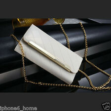 Patent Leather White Clutch-Handbag Folio Flip Case + Chain For iPhone 6/6s PLUS
