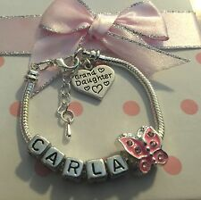 Personalised ANY NAME childrens girls pink butterfly charm bracelet gift box