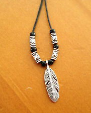 Handmade Waxed Cord Necklace, Bracelet or Anklet - Leaf/Feather Pendant