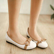 Fashion Womens Sweet Bowknot Round Toe Leather Ballet Flats Formal Shoes