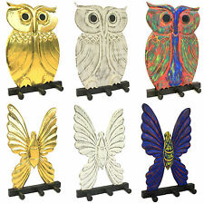 Wooden Coat Hangers - Owl & Butterfly - Carved Wood Wall Hooks Rack Shabby Chic