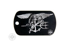 US Navy SEAL Trident Dog Tag DOGTAG012-B Custom Laser Etched Dog Tag Black