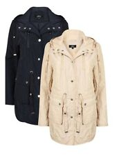 NEW LADIES QUILTED PARKA JACKET WITH HOOD SIZE 10-24 BEIGE & NAVY