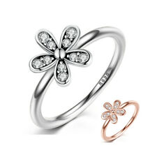 Stackable Band Ring CZ Flower Women's 925 Sterling Silver Rings Wedding Jewelry