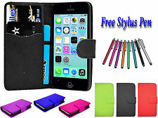 PU Leather Side Open Book Flip Wallet Holder Case Cover For Apple iPhone 5G 5S