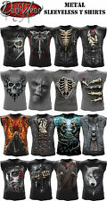 Spiral Direct Metal Sleeveless/Tank Top/Skull/Fire/Rock/Metal/Biker/Music/Rock