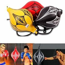 PU Leather Speed Ball Double End Boxing Ceiling Floor Punching Bag MMA Training