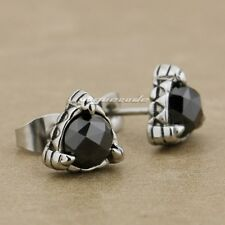 316L Stainless Steel Black CZ Stone Triangle Claw Fashion Stud Earring 4X019A