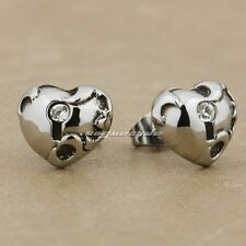 316L Stainless Steel White CZ Stone Heart Fashion Stud Earring 4X023A