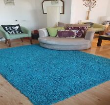 Thick Plain Soft Shaggy Teal Blue Rug Non Shed Modern High Pile Small Large Size