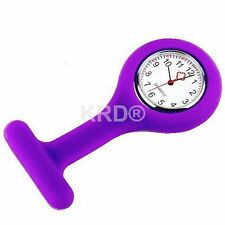 PURPLE Silicone Nurse Fob Watch Brooch Tunic Watch With A Free Battery SELLER