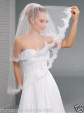 """2T White / Ivory Wedding Prom Bridal Fingertip Veil With Comb 34""""- Lace Edge"""